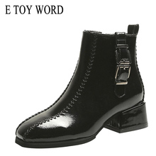 E TOY WORD women Boots 2019 Autumn Women Shoes Ankle Low-Heel Fashion Platform Square toe zip casual Bota Feminina