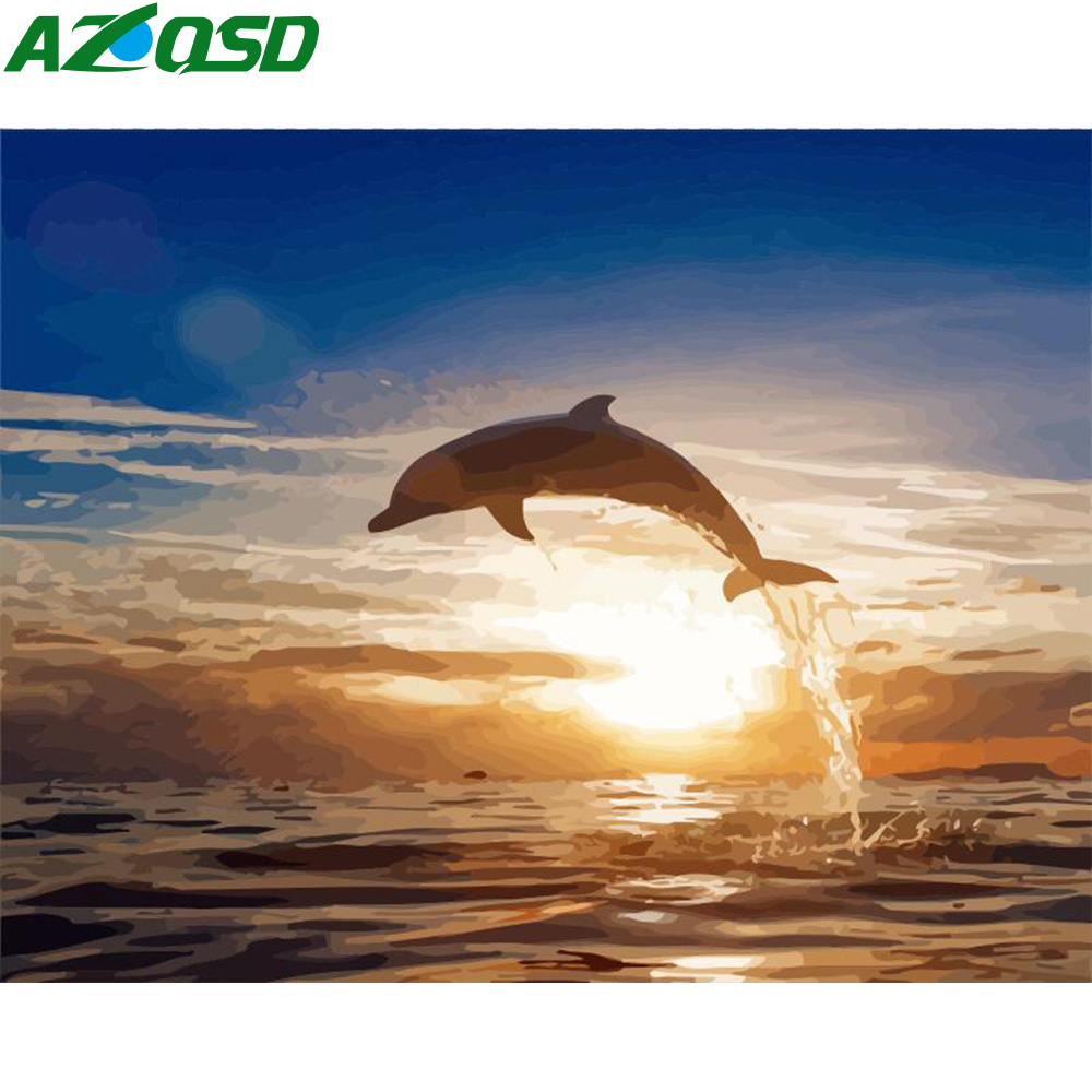 AZQSD 50x40cm Oil Painting By Numbers Dolphin DIY Paint By Numbers Animals Paint By Number On Canvas Home Decoration