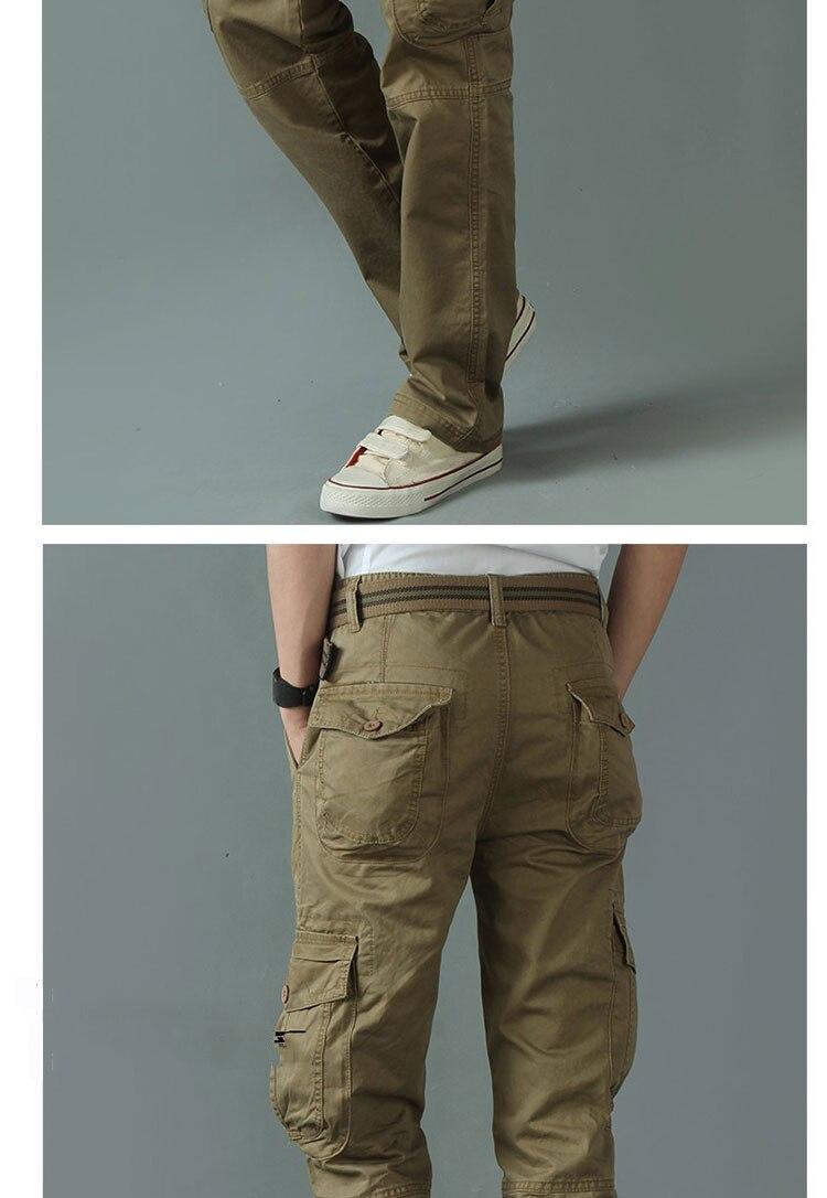 KSTUN New Men's Cargo Pants Casual Overalls 100% Cotton Straight Cut Male City Military Tactical Pants Men Loose Fit Trousers No Belt 14