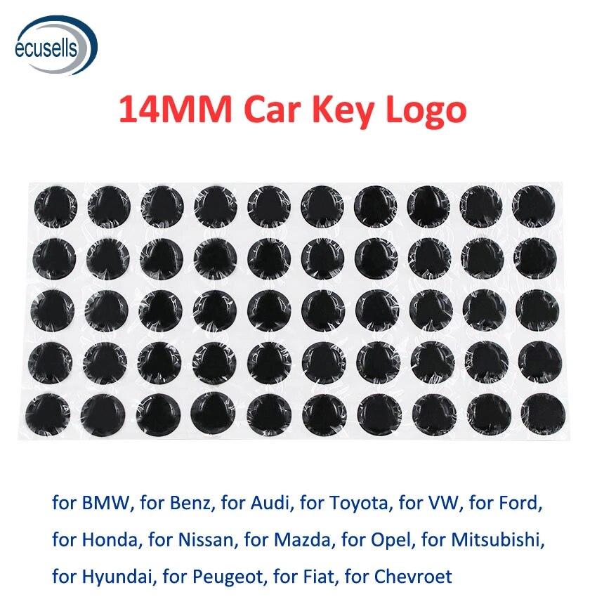 10 Вт, 30 Вт, 50 шт./100 шт. 14 мм эпоксидной смолы с украшением в виде кристаллов Замена эмблема логотип для KD/VVDI флип дистанционный ключ для автомо...