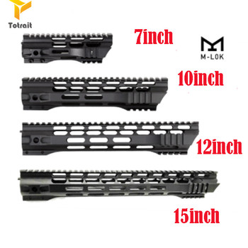 цена на Totrait 7 10 12 15 Inch AEG M4 M16 AR15 Free Float M-Lock Quad Rail Handguard Picatinny Rail with steel Barrel Nut for Hunting B