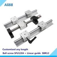 linear guide ballscrew set:linear rail SBR12 any length+ linear bearing SBR12UU+lead screw SFU1204 and швп 1204 cnc patrs
