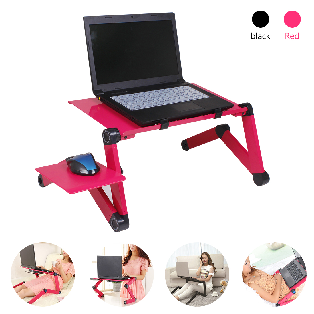 Aluminum Adjustable Laptop Desk Ergonomic Folding Sofa Bed Lapdesk Tray PC Table Stand Notebook Table Desk Stand With Mouse Pad