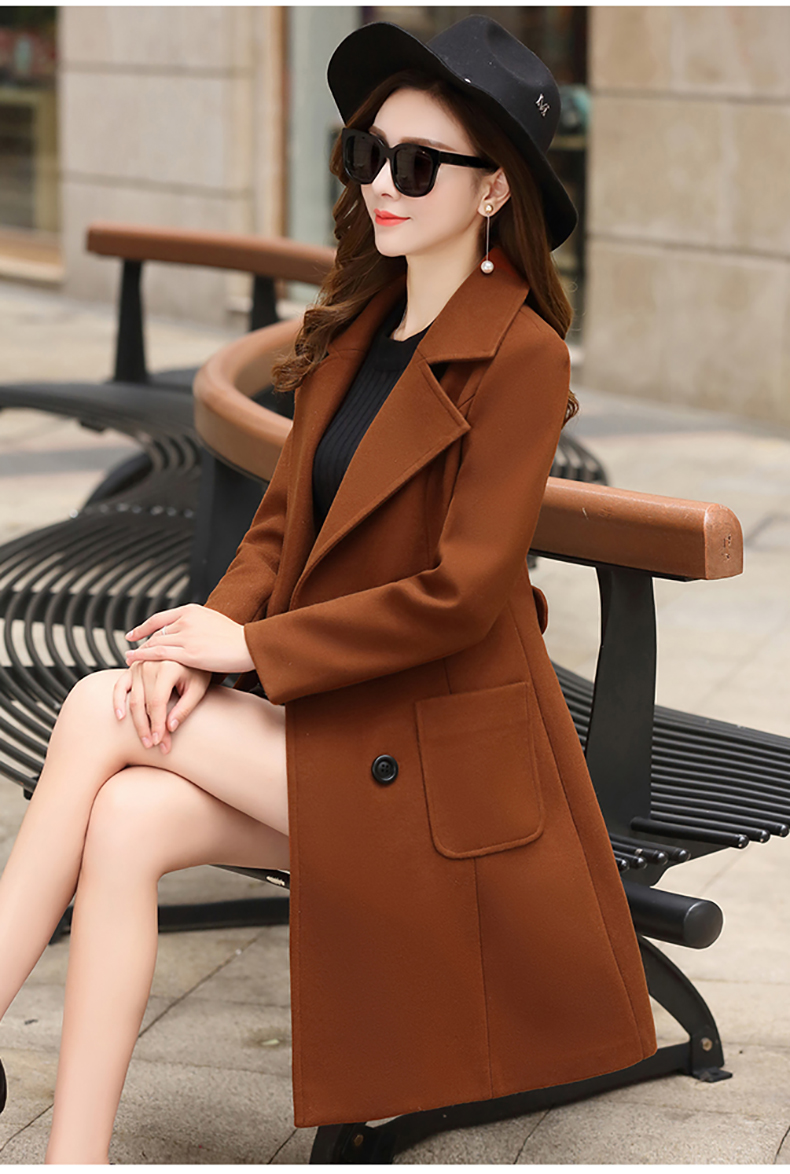 Woolen Women Jacket Coat Long Slim Blend Outerwear 2019 New Autumn Winter Wear Overcoat Female Ladies Wool Coats Jacket Clothes 6
