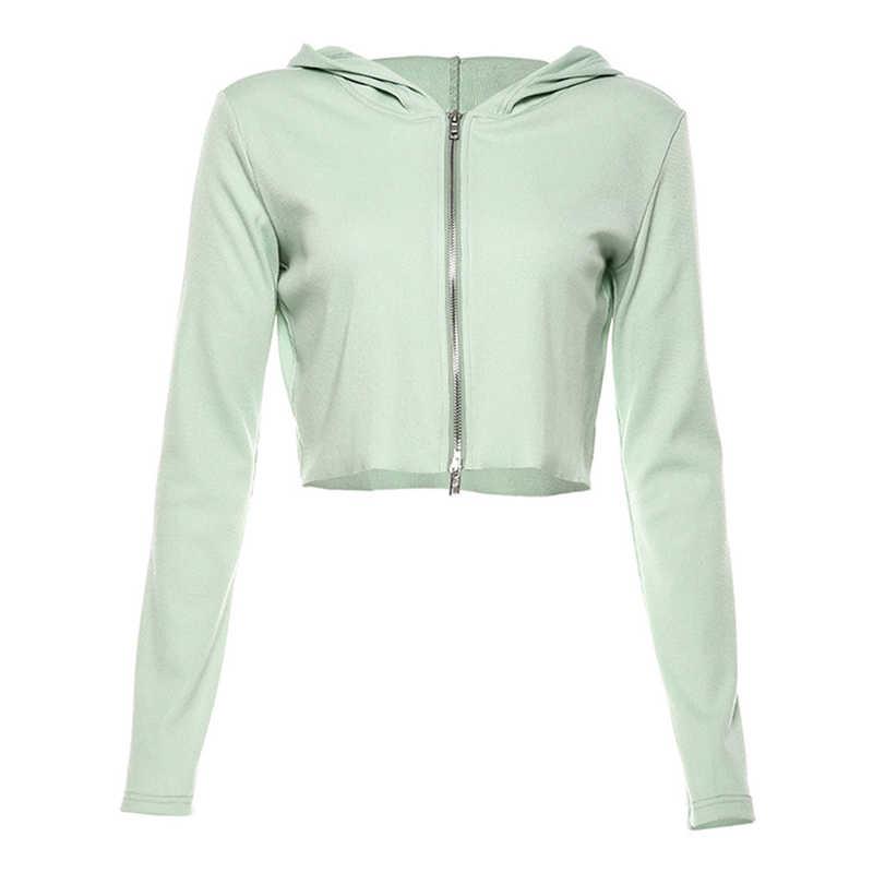 Lose Ernte Hoodies Frauen Langarm Sportliche Fitness Bekleidung Zip Workout Jersey Gym Pullover Mantel Heißer Verkauf Mint Sport Jacke