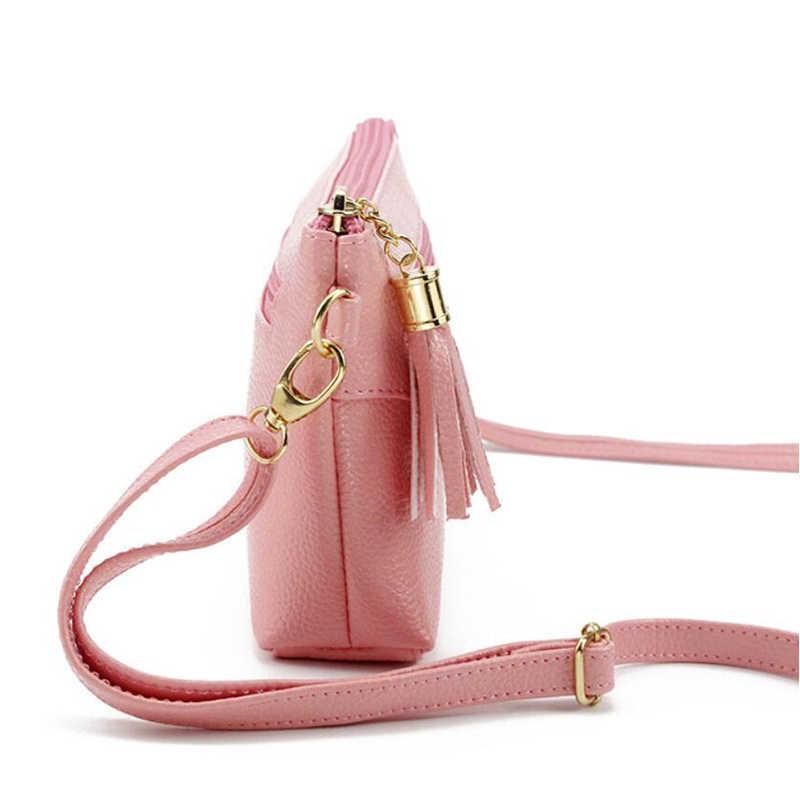 Wanita Messenger Tas PU Kulit Bahu Tas Fashion Rumbai Flap Tas Wanita Mini Tas Tangan Kecil Ritsleting Amplop Clutch Bag
