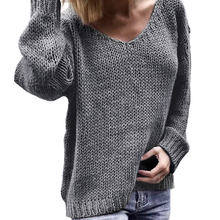HEFLASHOR Sexy V-neck Knitted Sweater Women 2019 Casual Loose Sweater Fashion Solid Causal Style Female Clothing Plus Size 3XL