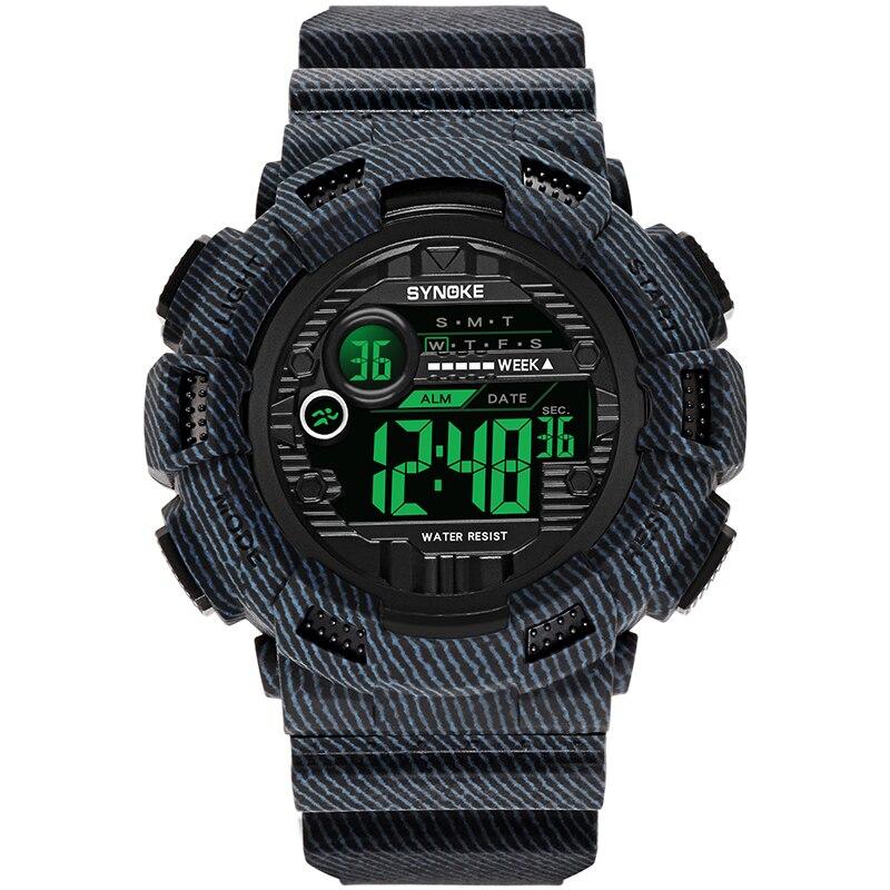 SYNOKE Brand Digital Wristwatches Mens Waterproof Cowboy Clock Stepwatch Sport Shock Military Wrist Watch LED Quartz Men's Gifts