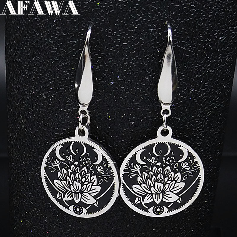 2020 Moon Lotus Stainless Steel Drop Earrings Women Black Enamel Small Earrings Jewelry acero inoxidable joyeria mujer E1790S02