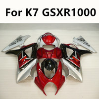 5 Colour Motorcycle For Suzuki GSXR1000 K7 GSXR 1000 2007 2008 Full Fairing Kits Injection Molding ABS Cowling Red silver
