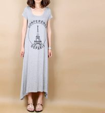 Summer New Style Dress Crew Neck Short Sleeve Plus-sized Iron Tower Printed Maternity Dress Korean-style Versatile Big Skirt(China)