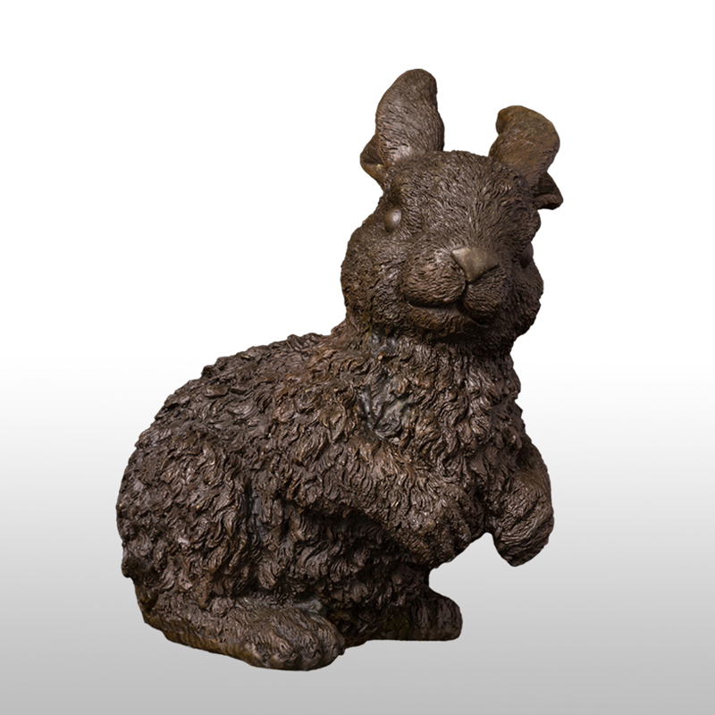 Pure Bronze Lucky Chinese Zodiac Wealth Fengshui Animal rabbit hare sculpture 1#