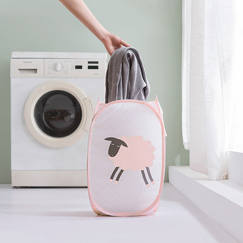 Ventilation Storage Bag Clothes Laundry Basket Polyester 50*30*30CM Sundries Organizer Collapsible 1Pcs Cartoon Pattern