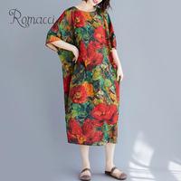 Vintage Women Cotton Linen Dress O Neck Raglan Sleeve Floral Print Pockets Loose Midi Dress Casual Summer Plus Size Dress Robe