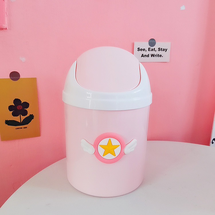 Creative Cartoon Card Captor Sakura Pink Kawaii Trash Can Mini Plastic Shake Cover Desktop Dustbin Girls Home Garbage Basket New