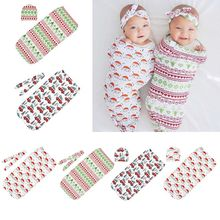 Christmas Baby Sleeping Bag Hair Band Hat Set Wrap Towel Printing Newborn Swaddle Photography Accessories