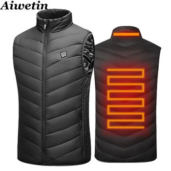 2020 Men Outdoor USB Infrared Heating Vest Jacket Men Women Winter Electric Thermal Clothing Waistcoat For Sports Hiking