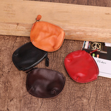 Vintage Cowhide First Layer Leather Coin Purse Wallet Zipper Round Pouch Coin Mini Bag Small Money Change Bag Coin Pouch Girls все цены
