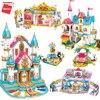 Фигурки Qman City, строительные блоки, серия принцесс, замок, набор, модель спальни, кирпич, развивающие игрушки, девочка, подруга, для рождествен...