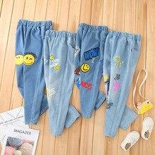Весенне-осенние детские штаны для мальчиков и девочек от 3 до 10 лет детские джинсовые штаны хлопковые брюки для детей, модная одежда для девочек