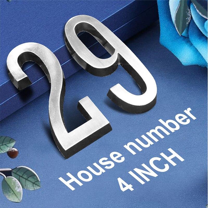 """Klej 4 """"101mm wysokość numer domu naklejki numer drzwi dla domu cyfry stopu cynku Satin Nickel Mailbox adres znak #0-9"""