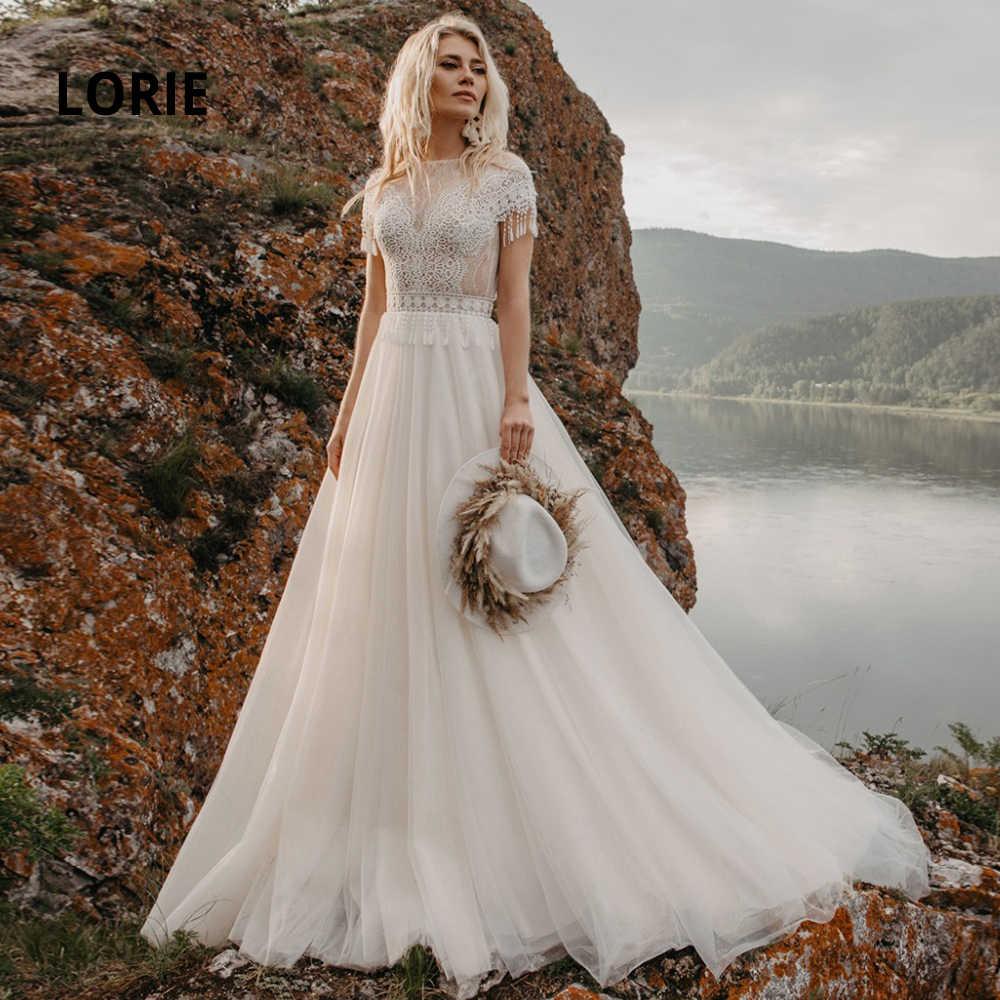 LORIE 18 Bohemian Wedding Dresses Lace Appliques Bridal Gowns Boho Cap  Sleeve A Line Beach Wedding Gowns Vintage Plus Size