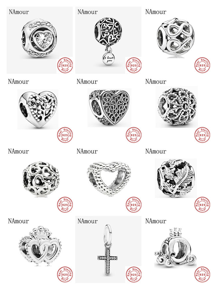 New openwork love hearts infinity crown Bead fit original Pandora charms 925 sterling silver Bracelet for women fashion jewelry(China)