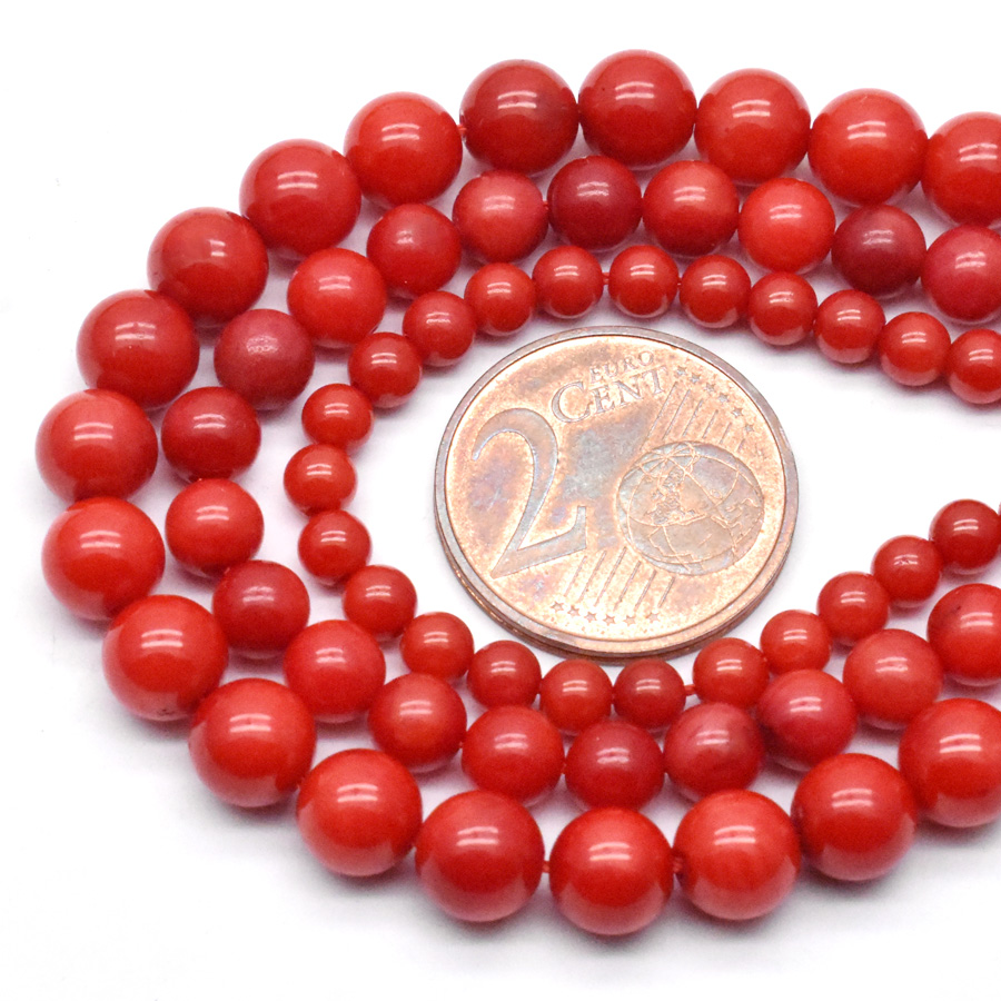 A Quality Natural Stone <font><b>Red</b></font> <font><b>Coral</b></font> Beads 4/6/8mm Round Shape Spacer Beads For Jewelry Making DIY Bracelet Necklace image