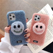 Fashion Glimlach gezicht Fur Case Voor iPhone X XS XR 11 Pro Max 6 6S 7 8 Plus Warm leuke Cartoon Zachte Pluche Telefoon Back Cover Coque(China)