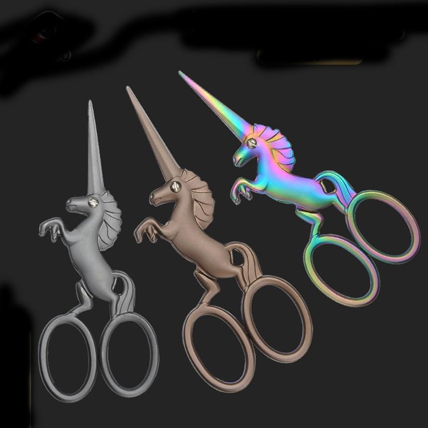 Stainless Steel Retro Scissors Creative Horse Shape Shear Cross Stitch Cloths Cutter Household Straight Blade Craft Hand Scissor