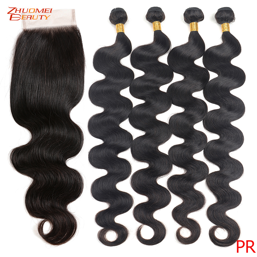 8-28inch 30 32 36 38inch Body Wave 3 Bundles With Closure Indian Hair Bundles With Closure 4X4 Lace Closure Remy Human Hair