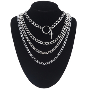 4pcs/set Layer chain necklace girls aesthetic cross choker necklace trendy claviclel chain women female neck jewelry