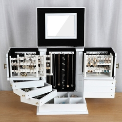 جديد صندوق مجوهرات من الخشب سعة كبيرة خشب متين حلق مجوهرات حقيبة للتخزين المنزلية الأميرة النمط الأوروبي علب للمجوهرات