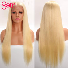 613 Blonde Lace Front Human Hair Wigs 13x4 Brazilian Straight Lace Front Wig Pre Plucked Honey Blonde GEM Remy Lace Front Wigs(China)