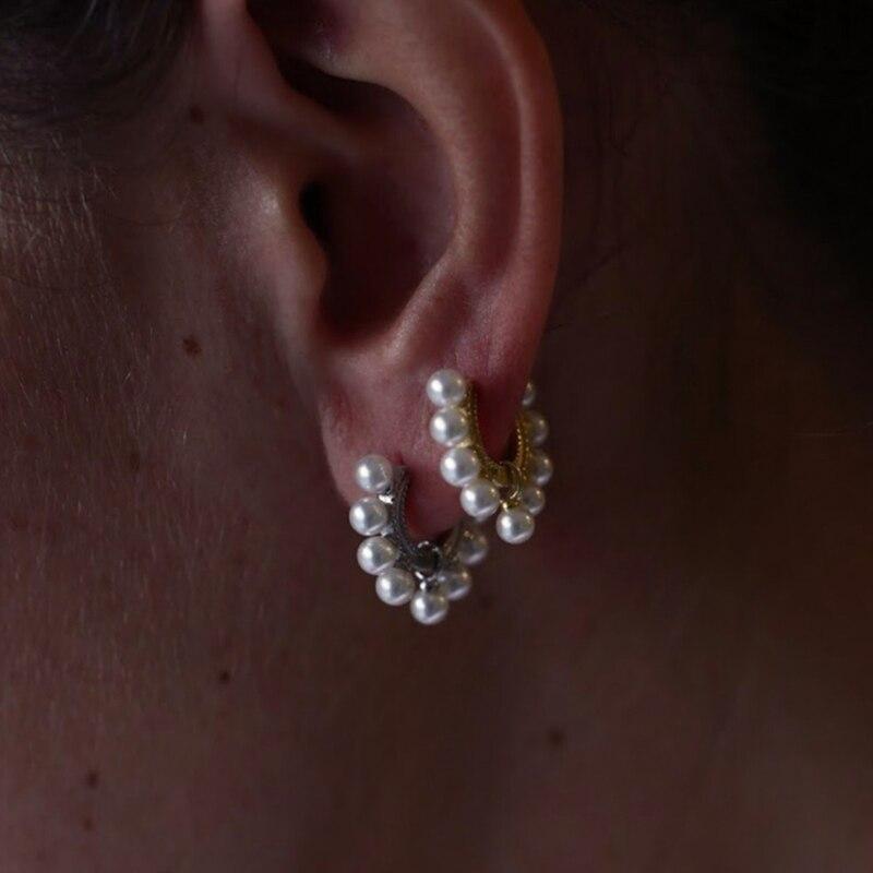 Marka Classic 9pc Pearl HOOP kolczyki damskie odzież na co dzień biała różowa róża AAAAA słodkowodna sztuczna perła S925 srebrne kolczyki