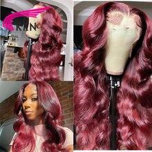 Perruque Lace Frontal wig Remy brésilienne naturelle, Body Wave, ombré bordeaux 99J, 13x4, avec Baby Hair, 180% de densité, pour femmes