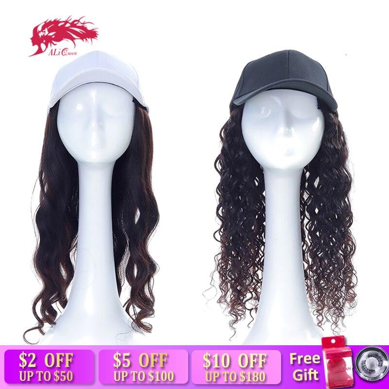 Ali queen длинная волна тела/вода волновая шляпа парик натуральный цвет remy наращивание волос с крышкой Регулируемые парики