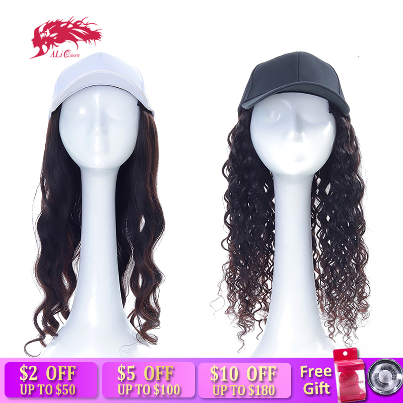 Ali Queen Long Body Wave / Water Wave Hat Wig Natural Color Remy Hair Extension With Cap Adjustable Wigs