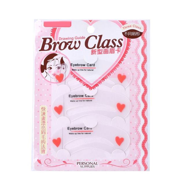 Easy to Use 3Pcs/set Thrush Card Threading Word Eyebrow Makeup Tools Threading Artifact Thrush Card Eyebrows Mold SC30 5
