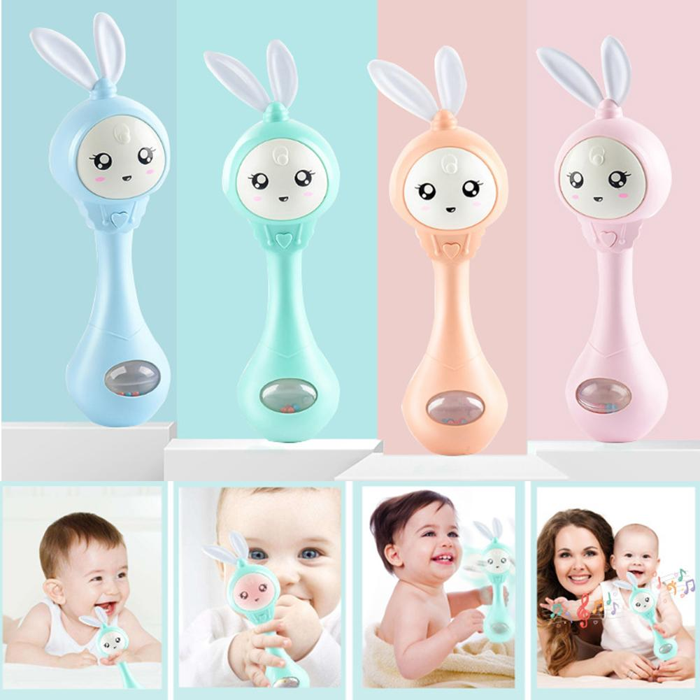 Cartoon Rabbit Baby Shaking Rattle Hand Bell With Music Light Teether Toy Gift Attract Baby's Attention Grinding Their Teeth