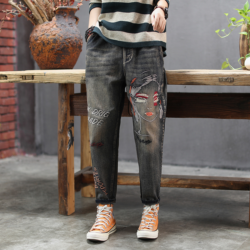 Women Spring And Autumn Fashion Brand Vintage Girl Letter Embroidery Straight Denim Jeans Female Casual Loose Pants Trousers
