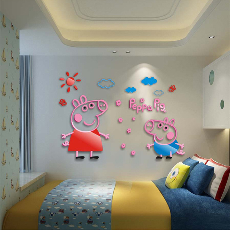 Original Peppa Pig Crystal Ark Force 3D Wall Sticker Cartoon Children Room Bedroom Bedside Kindergarten Decorative Painting