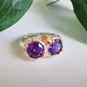 Image 5 - DreamCarnival1989 Purple Zircon Rings for Women Wedding Must Have 2019 Jewelry Owl Big Eyes Design Two Tones Color WA11754