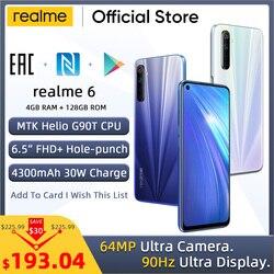 realme 6 Globale Version 4GB RAM 128GB ROM Handy 90Hz Display Helio G90T 30W Flash ladung 4300mAh 64MP Kamera Handy