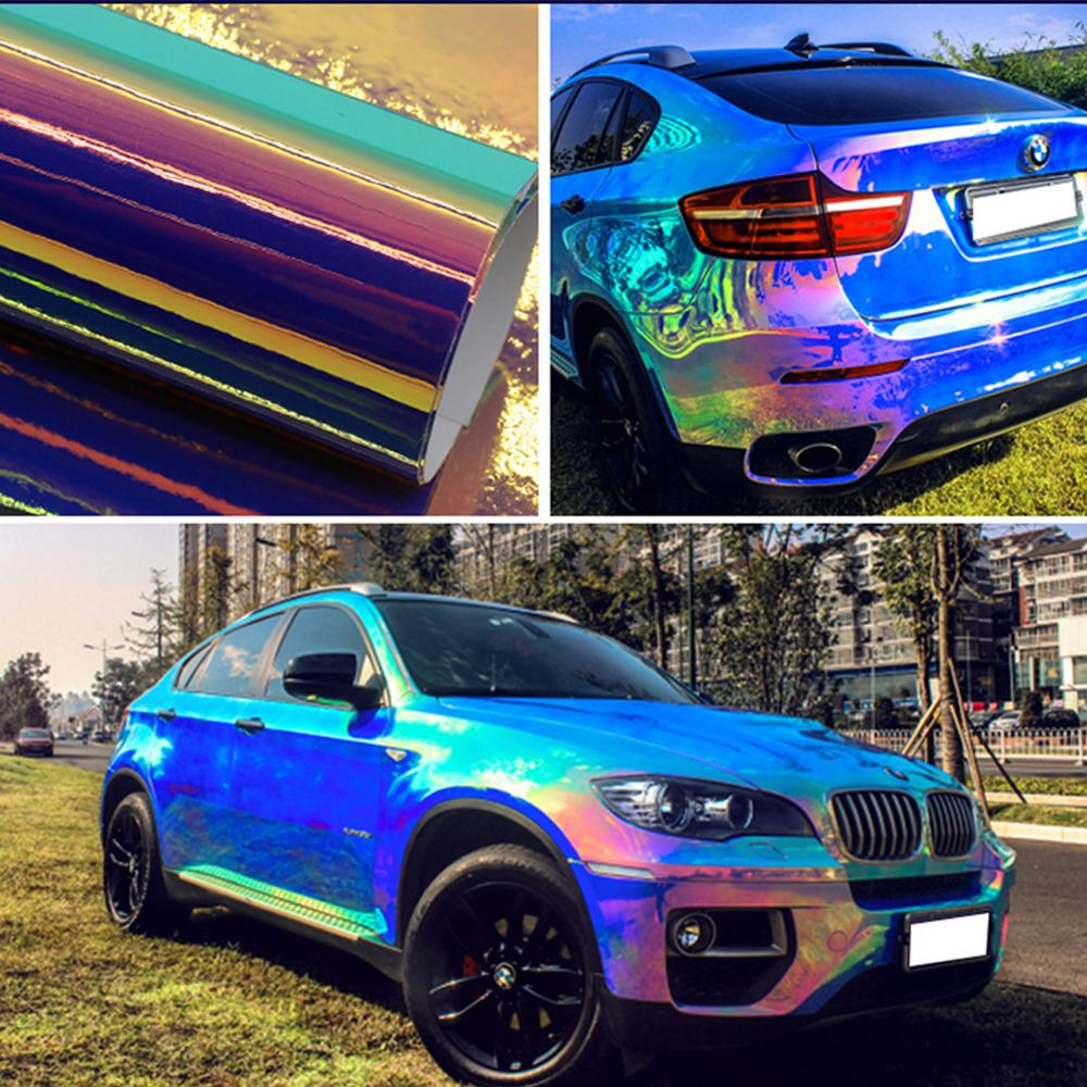 Holographic Blue Rainbow Chrome Car Interior Body Sticker Sheets Vinyl Wrap Decals Motorcycle Decor Film(China)