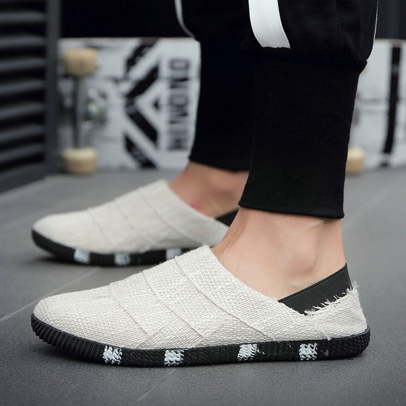 2019 Summer Ethnic Style men Espadrille Casual Flats Shoes Canvas Driving Loafers Flats Hemp Insole Shoes D11-07