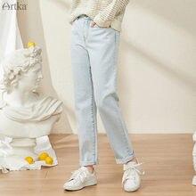 Женские джинсы artka синие прямые с высокой талией повседневные