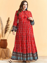 Siskakia Comfortable Viscose Ethnic Print Plus Size Dress Frill Stand Collar Lantern Long Sleeve Maxi Dresses Arab Oman Clothing
