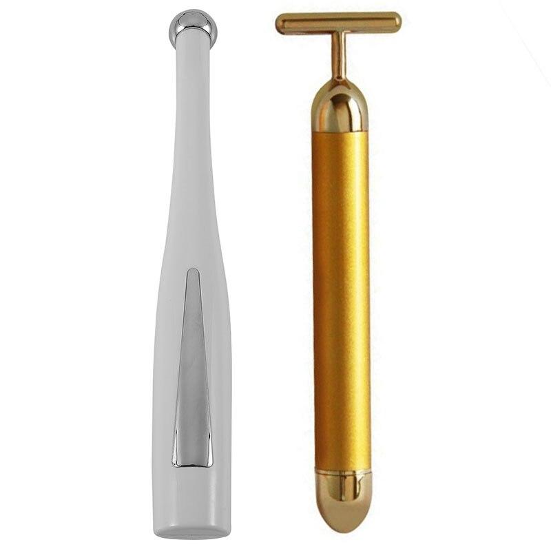 1x ouro barra de beleza anti rugas face lift 1x eletrica 2 em 1 olho massageador