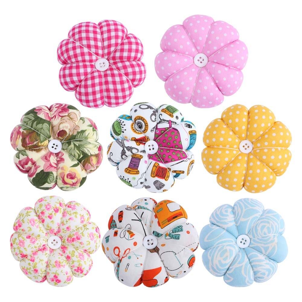 Colorful Folwer Pumpkin Shaped Needle Pin Cushion Pincushion Wrist Strap Stitch Needlework Mat DIY Sewing Accessories